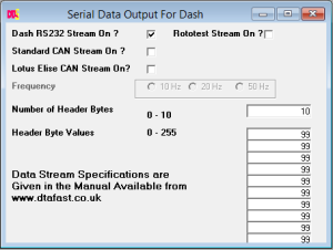 Serial Data Output for Dash